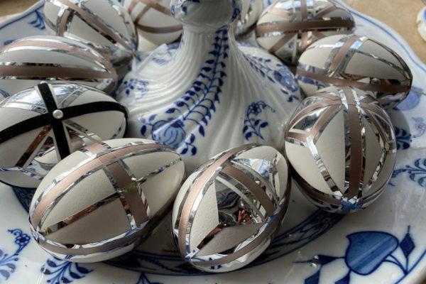 ART-DECO Ostereier Platin-Silber