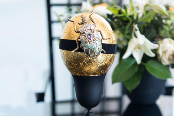 Straußenei á la Fabergé in Gelbgold